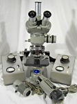 VINTAGE OLYMPUS TOKYO MICROSCOPE W/ 2 OLYMPUS TE-II LIGHT SOURCE POWER SUPPLIES